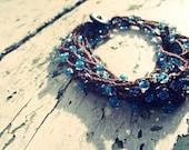Blue Brown Bohemian Bead Crochet Necklace Boho Chic  Bracelet Beach
