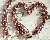 Brown and White Bead Crochet Set Necklace Bracelet versatile Boho Chic