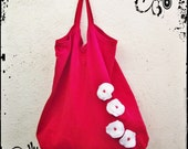 Upcycled Tote Bag red with white felt flowers applique Beach bag, Shopping bag, Market bag