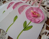 Spring Flower Gift Tag shabby chic - set of 5