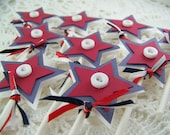 Patriotic Cupcake Toppers Red White and Blue Cup Cake Star Decoration 4th of July Summer Birthday Party