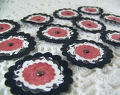 Paper Posies Black Red and White for Scrapbooking Card Making Altered Art - Set of 12