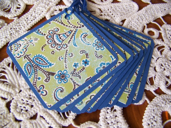 Square Gift Tag Blue and Green Paisley set of 8
