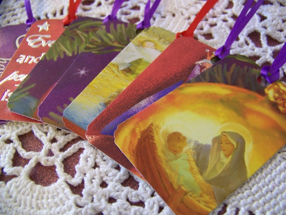 Christmas Gift Tags Nativity Manger Scene Upcycled Repurposed Party Favor Hang Tag Set of 8
