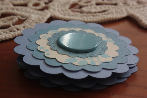 Paper Flower Posies for Scrapbooking Card Making Altered Art Blue Floral Embellishments
