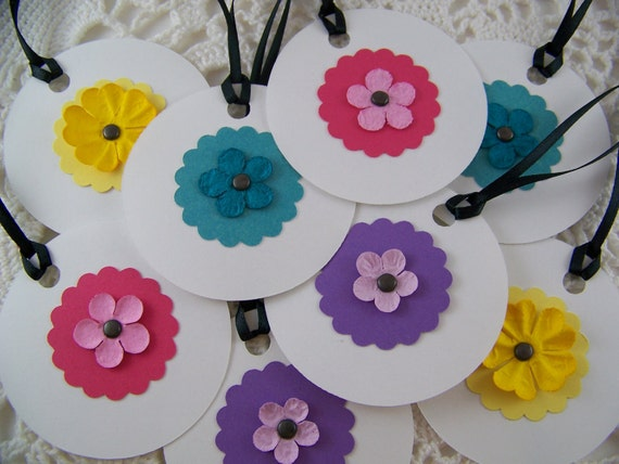 Flower Gift Tags Whimsical Hang Tag Bright Bold Colors Party Favor Label - Set of 8