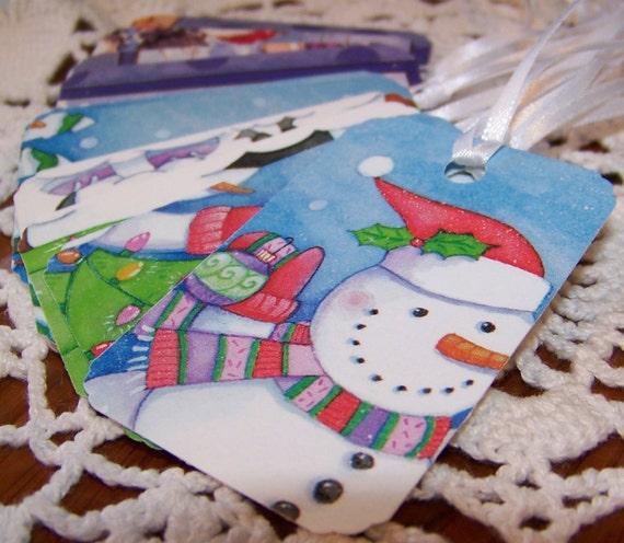 Christmas Gift Tag Snowman Holiday Winter Scene Upcycled Party Favor Label