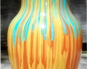 Torquoise, Orange and Yellow Sunset Painted Fluted Glass Vase