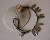 Genuine KarenThai Silver Leaves on Sage Leather Bracelet