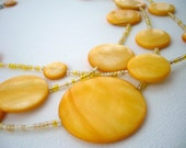 Handmade Fashion Jewelry Yellow Round Shell Disc   Layered Necklace - Summer Fashion