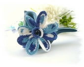 Crochet Bracelet - White Blue Bracelet - Spring Flower -  Handmade Fashion Jewellery