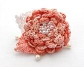 Hand Crochet Beaded Anchor Cotton Corsage Brooch  Peach Flower
