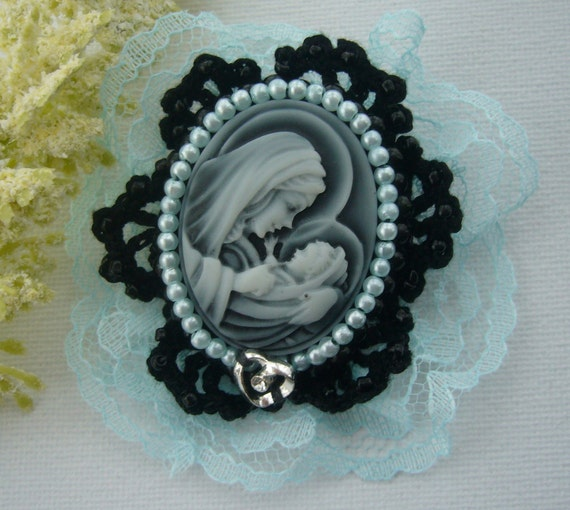 Victorian Style Mother of God Cameo Brooch Pin Hand Crochet Beaded Cotton and Lace Trim