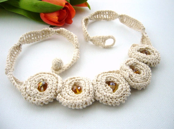 Hand Crochet Natural Linen  Necklace Choker Roses
