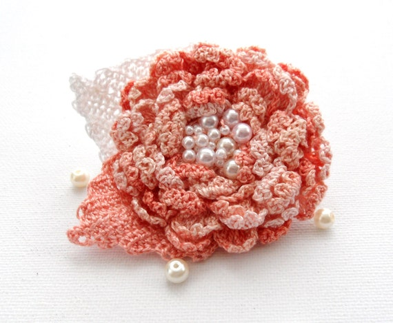 Hand Crochet Beaded Anchor Cotton Corsage Brooch  Peach Flower