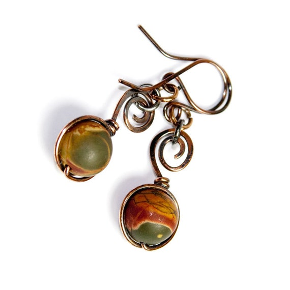 Picasso Jasper Earrings on Spiral Copper Wire