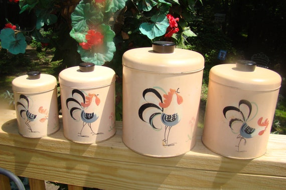 Vintage Rooster Canisters