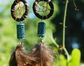 Brown and Turquoise Dream Catcher Earrings