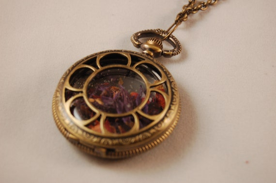 SALE Time Piece Locket Filled Pendant - Crushed Flower Petal Necklace
