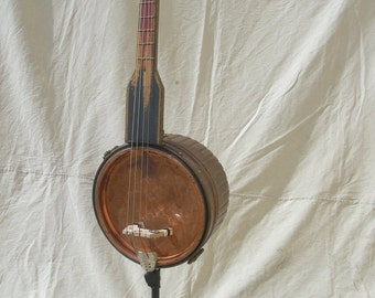 Bass Guitar Upright Copper Washtub Antique Hand Made 1880's Neck Standup