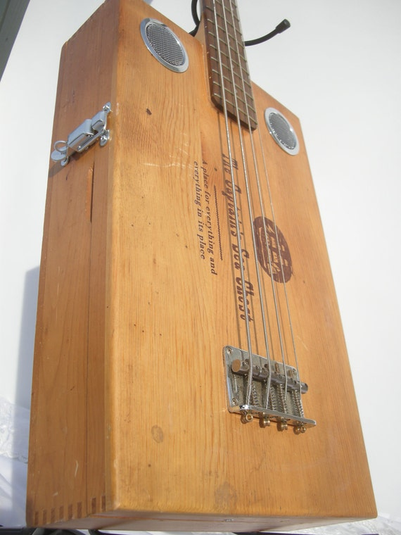 The Captain's Sea Chest Bass Guitar handmade custom Ooak Acoustic Electric Instrument