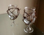 Rustic Wedding Decor Grapevine Wine Toasting Glasses Bride and Groom Set