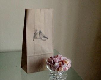 Love Bird Kraft Paper Wedding Candy Buffet Favor Bags - Set of 20