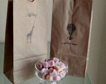 Carnival Wedding Hot Air Balloon and Giraffe Brown Paper Candy Buffet Bags - Set of 20