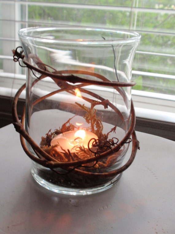 Rustic wedding decor winding grapevine candle holder with
