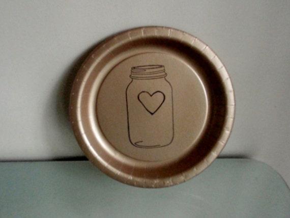 Burlap Mason Jar Heart Wedding Paper Plates set of 80 cake plates and 120 dinner plates