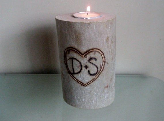 2 Personalized Rustic Wedding Decoration Carved Heart and Initials Wood Log Candle Holder Tea Light Centerpiece