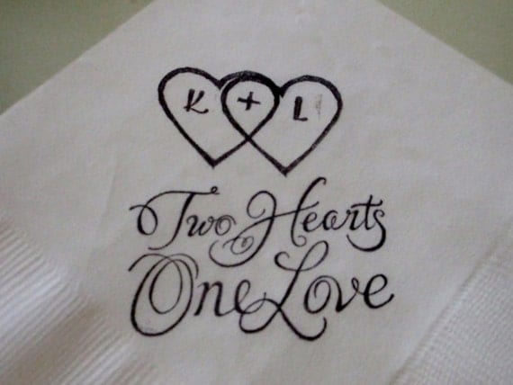 White Personalized Two Hearts One Love Cocktail Napkins with Adjoining hearts and initials - Set of 50