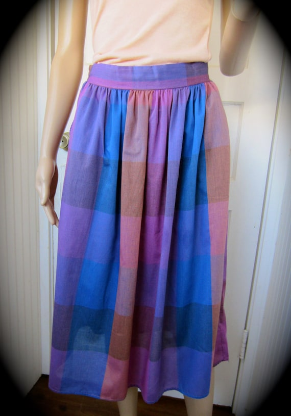 SALE Vintage 70s Byer Checkered Small House on the Prairie Skirt