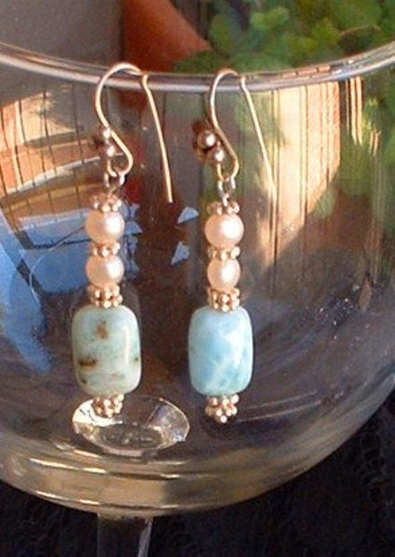 Larimar and Pearl Earrings
