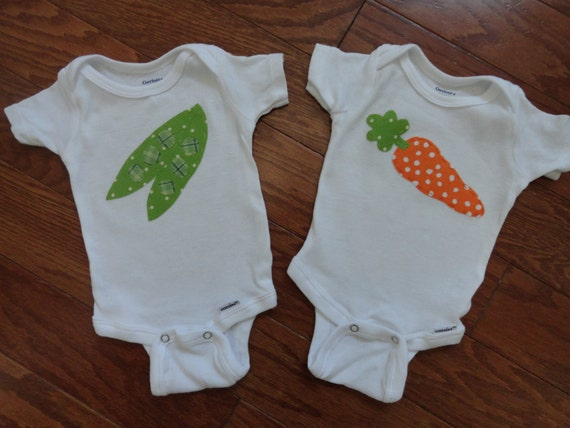 Peas and Carrots Twins Onesie Set- Ready to Ship sizes