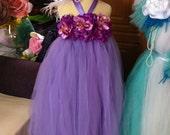 Purple Tutu Dresses with a big hair clip size as per request