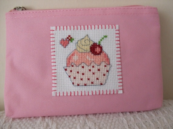 pink toiletry/cosmetic/make-up/medicine bag or pencil case with pastel cross stitch design