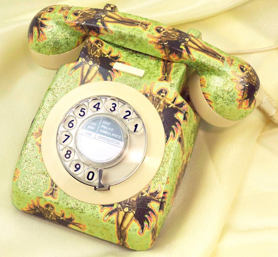 Unique Josephine Baker Glitzed Upcycled Vintage Rotary Phone FULLY WORKING