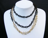 SALE 25% OFF - Multiple Necklace with Gold Plated Chain & Dark Brown Textile Chain