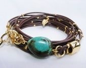 Brown Leather Bracelet with turquoise stone Multi-Strands Wrap with Gold plated Leaf Charms