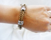 Leather Bracelet Bronze with Silver tone beads