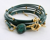 Green Bracelet, Leather Multi-Strands with Gold plated Leaf Charms & turquoise stone
