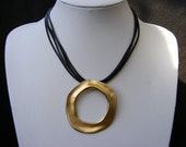Black Leather Necklace with unique Gold Plated circle