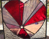 Red Themed Stained Glass Sunburst Heart