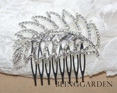 Leaf Feather Shaped Rhinestone Crystal Wedding Bridal Hair Tiara Hair Comb