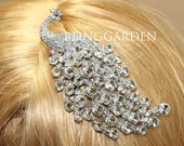 Bridal Hair Comb, Wedding Hair Comb, Large Peacock Hair Comb, Rhinestone Crystals Silver Hair Comb, Peacock Rhinestone Crystal Hair Comb