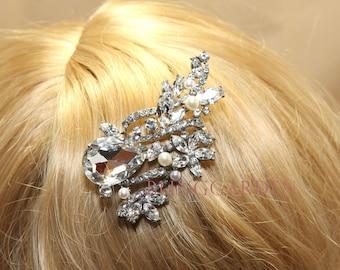 Bridal Hair Comb, Wedding Hair Comb, Ribbon Flower Vintage Style Large Rhinestone Crystal Hair Comb, Freshwater Pearl Hair Alligator Clip