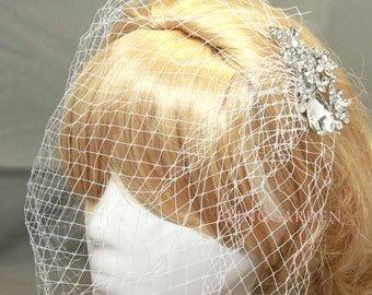 Bridal Veil And Bridal Comb, Bandeau Birdcage Veil, Blusher Bird Cage Veil, Rhinestone Fascinator Comb