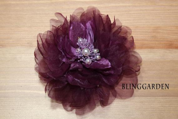 Purple Handmade Bridal Wedding Flower Veil Feather Fascinator Clip with Crystal Rhinestone Brooch Cluster