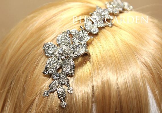 9 inch Long Leaf Rhinestone Crystals Headband,Wedding Bridal Tiara,Ribbon Hairband,Crystal Headband,Wedding Ribbon Headband,Rhinestone Chain